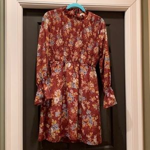 Pink Rose floral flowy Fall Dress - large